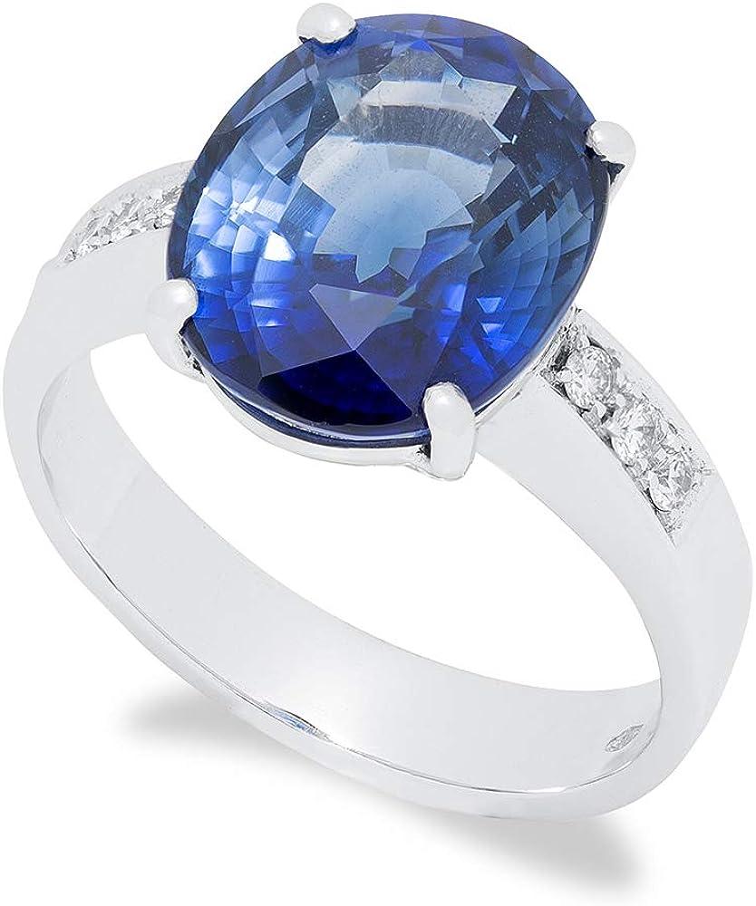 B.&c.gioielli anello da donna in oro bianco 18kt, 0,12 ct. diamanti taglio brillante e uno zaffiro da 7,31 ct an 11