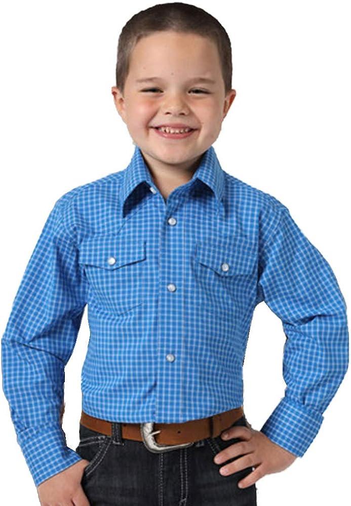 Wrangler Boys Blue Plaid Little Bighorn Long Sleeve Shirt