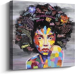 Pinetree Art African American Black Art Canvas Wall Art, Original Designed Pop Graffiti Style Canvas Painting on Print (40 x 40 inch, A Framed)