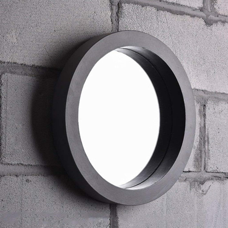 XIUXIU Mirror Simple Round Wall Hanging Bathroom Waterproof Wash Basin Decorative Mirror Retro Industrial Vanity Mirror (Size   40cm40cm)