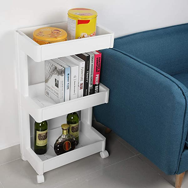 Home And Office Storage Organizer 3 Lays Portable Multifunctional Removable Storage Box Shelf With Wheels Fit For Kitchen Bathroom Bedroom Livingroom White