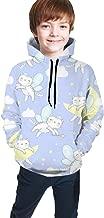 Cat with Wings is Sleeping Clouds Pattern Kids' Casual Pullover Hoodie Hoodies Hooded Sweatshirt for Teen Boys and Girls