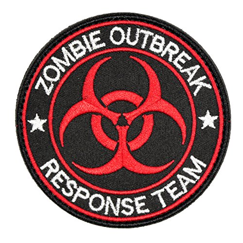 U-LIAN Zombie Outbreak Response Team Resident Evil Biohazard Morale Tactical Patch Embroidered Applique With Hook and Loop Fastener Backing Patch (Black+Red)