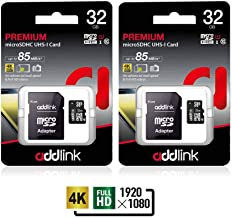 addlink 32GB 2Pack microSDHC C10 UHS-I Memory Card with Adapter Read up to 85MB/s (2 Single Package)