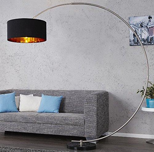 DuNord Design Lámpara de pie arco Westend Negro Oro M. Regulador mármol Lounge Diseño Lámpara