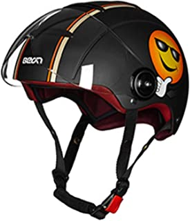 ,S MMRLY Retro Motorcycle Harley Helmet,3//4 Open Face Vintage Leather Half Helmet DOT Approved Summer Safety Helmet with Detachable Cap Eaves M,L,XL,XXL