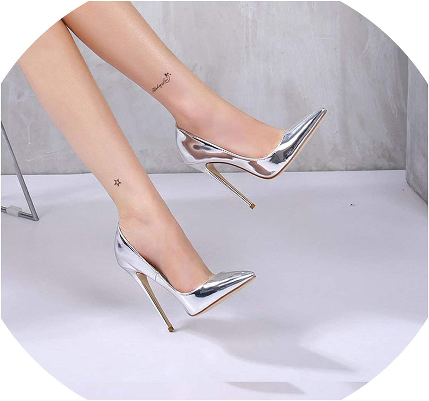 Women Pumps High Heels Silver Sexy High Heels shoes for Womens shoes Big Size