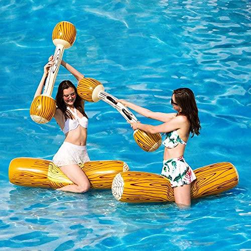 RenXin 2 PCS Conjunto Juguetes de Fila Flotante Inflable, Niños Adultos Piscina Party Water Sports Games Log Balsas para Flotar Juguetes MAX Peso 143 Lbs (Grano de Madera)