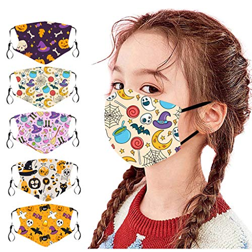Christmas Face_Masks for Kids,5Pcs Reusable and Children Protective Face Bandanas with Cute Pattern for Kids, Breathable and Anti-Haze Dust