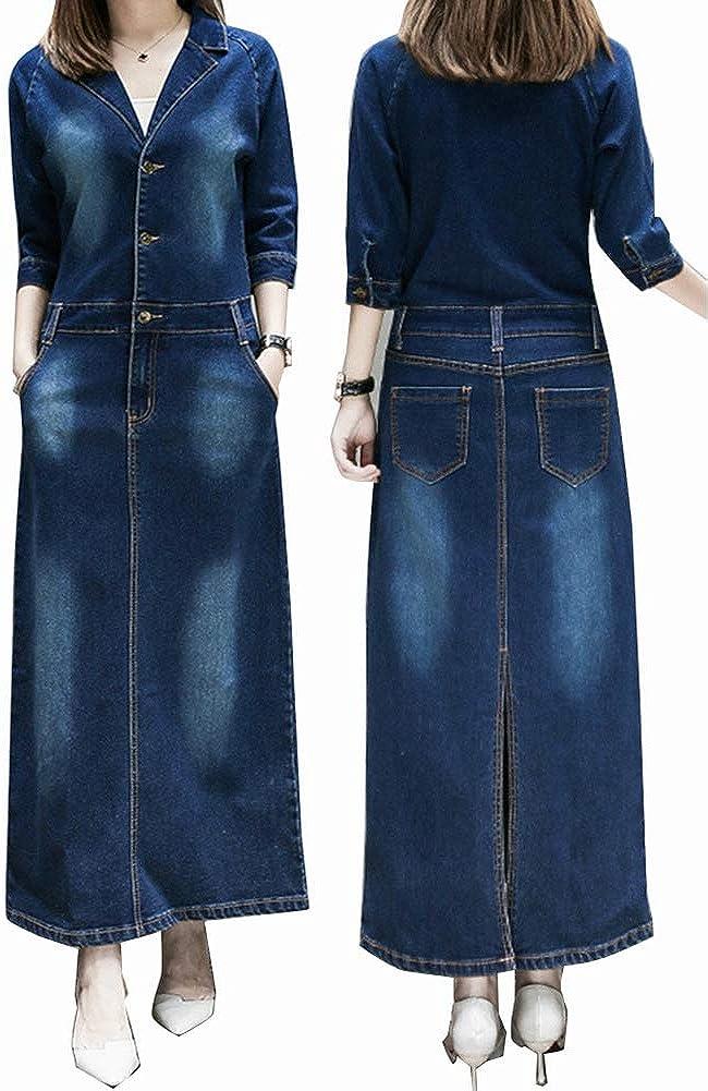 PROMLINK Women Long Sleeve Denim Dress Outwear Plus Size Jean Jacket Coat