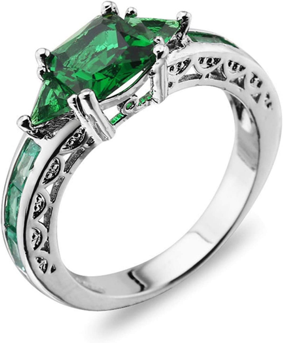 Herria Womens 925 Sterling Silver Plated Created Emerald Engagement Ring