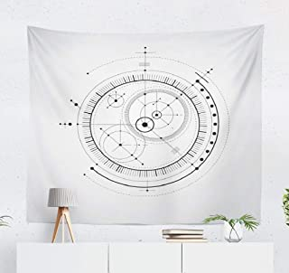 Aactwon Wall Tapestry,Tapestry Wall Hanging Scheme Black and White Engineering with Circles WallArt for Bedroom WallDecor Tablecloth Dorm Decor 60x50 Inches, White