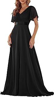 Ever-Pretty Damen Abendkleid Frau A-Linie Brautjungfernkleid V Ausschnitt Hochzeit lang 09890