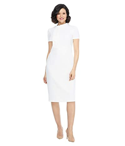 Maggy London Scuba Crepe Short Sleeve Sheath Dress with Neck Tie Detail (Ivory) Women