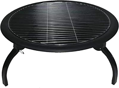 Fire Pit Steel Folding Outdoor Garden Patio Camping Bowl for Wood with Poker Grate Grill and Cover