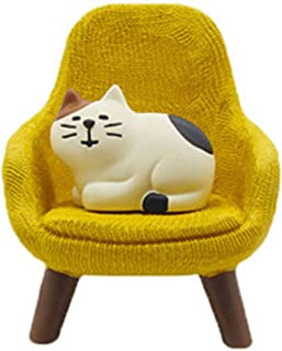 helegeSONG 1:12 Scale Dollhouse Miniature Armchair with Pet Cat Miniature Chair Dollhouse Sofa Doll House Accessories Yellow