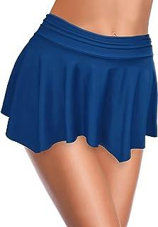 SHEKINI Women's Swimdress Skirted Bikini Bottom Built-in Swim Bottom Ruched Swim Skirt