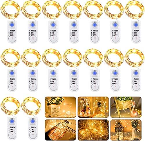 Stringa Luci LED a Batteria con timer, 16 pezzi 2M 20LED Catena Luminosa Filo Rame Ghirlanda Luminosa,Impermeabile Lucine Led Decorative Per Camere Esterni Giardino Feste Natale Matrimonio fai da te