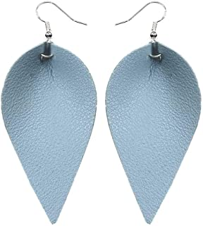 Girl Handmade Leather Earrings Boho earrings teardrop Leaf Teardrop Hook Dangle Pendant Ear Stud Women Jewelry
