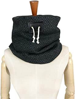 NJTSXLM Hooded Scarf Neck Warmer Cowl Scarf, Men Scarf Winter Scarf Unisex Neck Warmer face mask Leather Drawstring Scarf (Color : Gray)
