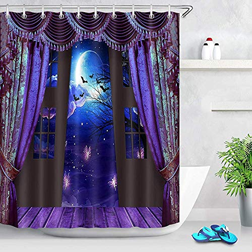 D-M-L Partei-Duschvorhang, Feen-Schläger-Niederlassungs-Bäume in der Mond-Nachtszene Purdah-Duschvorhängen für Badezimmer, wasserdichtes Gewebe