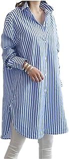 [グリーンティー] シャツ ワンピース ストライプ 長袖 襟 ボタン 前開き ゆったり カジュアル M ~ XL レディース