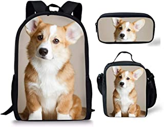 HUGS IDEA 3 Pcs/Set Children School Backpack Bookbag Bagpack with Picnic Camping Food Container Pencil Case, Kawaii Puppy Corgi Dog