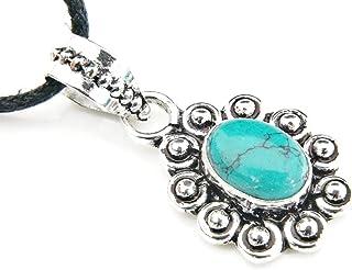 Kettenanhänger Medaillon versilbert silbern Türkis blau grün 922-04-022-15