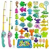 ZWOOS Gioco della Pesca, 44 Pezzi Fishing Game Magnetico Giocattolo da Bagno Canne da Pesca Giocattolo, Grande Regalo per Bambini Piccoli