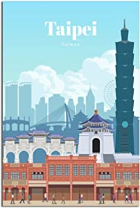 ASDAF Vintage Travel Poster Taipei Canvas Art Poster Picture Modern Gift Wall Decor Painting Posters Office Family Bedroom Decorative Posters