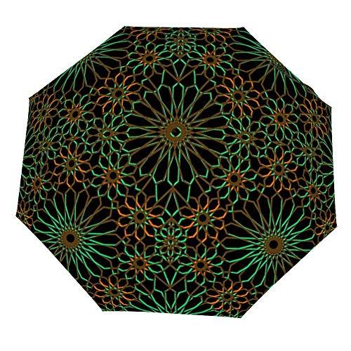 Faltschirm Geometrische islamische Vorlage Kunst Regenschirm Öffnen Schließen Winddichter Regenschirm Leichte kompakte Außenschirme Sonne & Regen