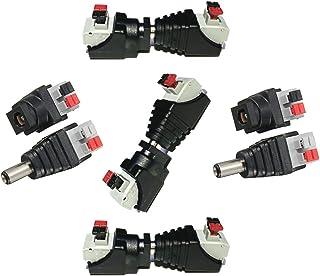 Liwinting DC Verbinder 5,5 x 2,1 mm DC Buchse + DC Stecker 5 Männliche und 5 Weibliche DC Steckverbinder DC Jack Adapter Verbinder 5,5 x 2,1 mm für 12V / 24V LED Streifen,CCTV Kamera (5 Paare/Paket)