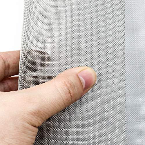 QWORK Drahtgeflecht , aus 304 Edelstahl , Wire Mesh 30 Mesh , 30 x 60 cm , metallgitter feinmaschig , 0.6 mm Löcher , für Nagetiere Fenstergitter Maschendraht Filternetz , 2 Stück
