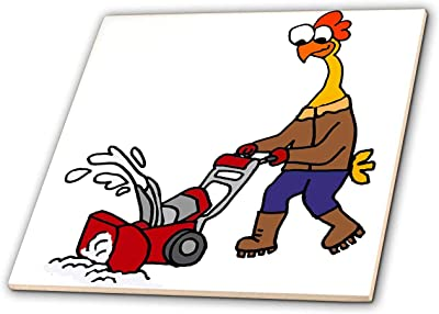 T-Shirts Cute Funny Rubber Chicken Using Snow Blower Cartoon Animals 3dRose All Smiles Art