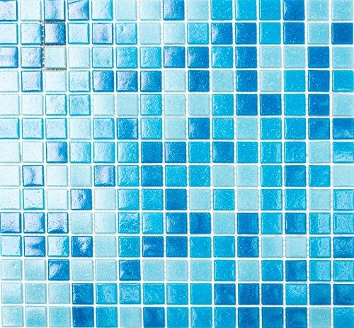 Mosaico della rete tessere di mosaico quadrato mix Azzurro/Blu Mosaico in Vetro con Effetto Spot Piastrelle Specchio da parete cucina bagno WC