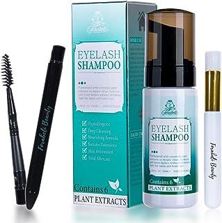 Eyelash Extension Foam Cleanser Shampoo & Brush + Mascara Wand - Forabeli/Eyelid Foaming Cleansing/Lash Cleaner/Nourishing Formula/Paraben & Sulfate Free/Makeup Remover/Salon and Home use