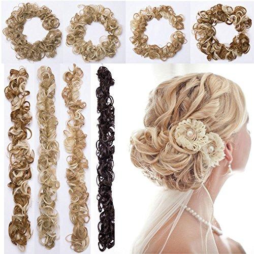 XXL Postiche Extension des Cheveux Hairpiece Naturel Cheveux En Caoutchouc Chouchou Chignons VOLUMINEUX Bouclés Ou Chignon Noir foncé