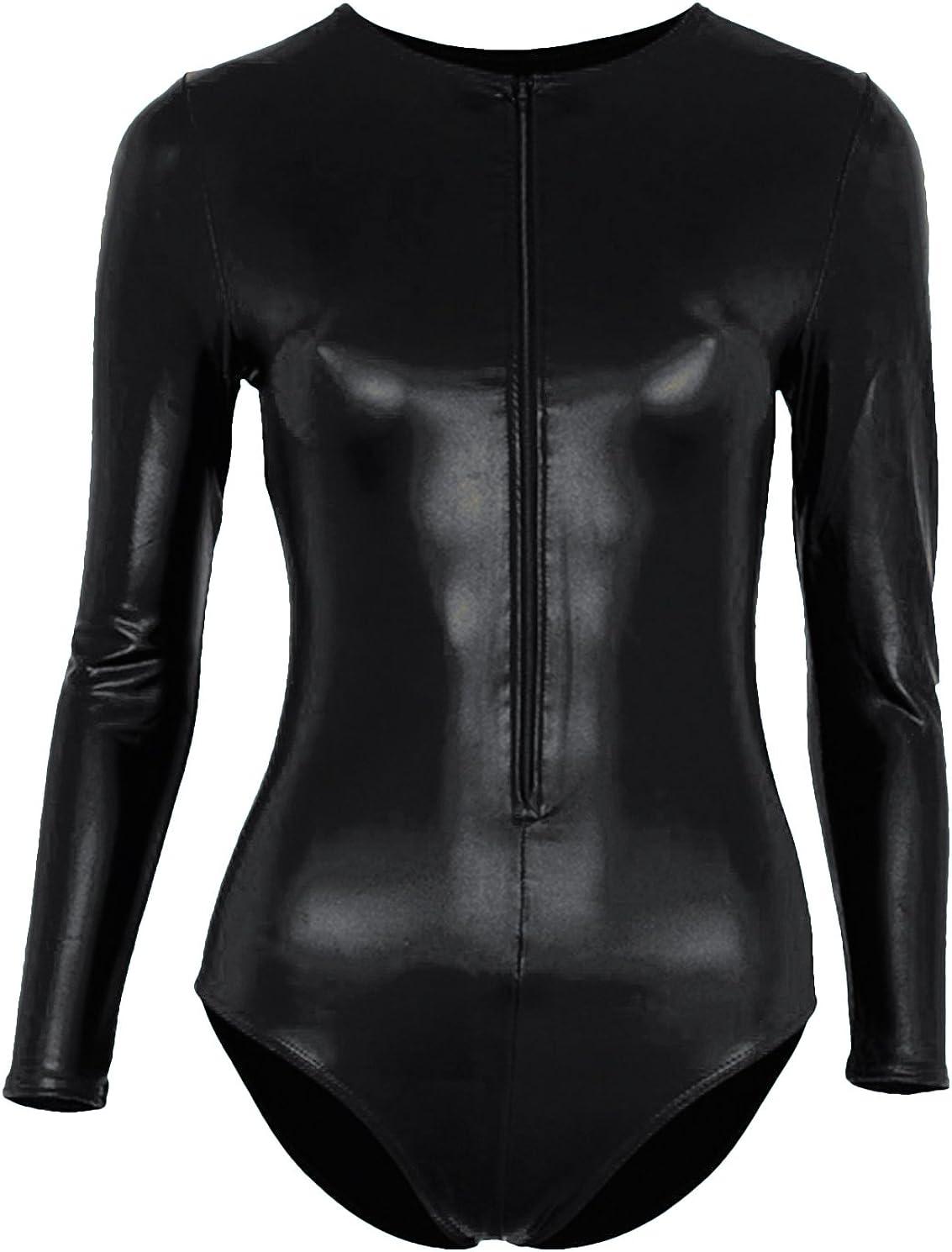 VSVO Women's Metallic Zipper Front Bodysuit Dance Leotards