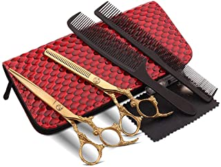 Professional Barber Gold 6 Inch Set, Household Flat Scissors + Tooth Scissors Set Scissors (Color : Gold)