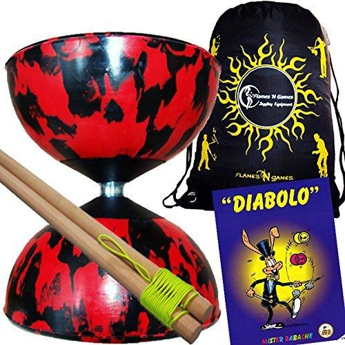 Mr Babache Harlequin Diabolo Set - Black/Red! With Wooden Diablo sticks, Mr Babache Diabolo Book of...