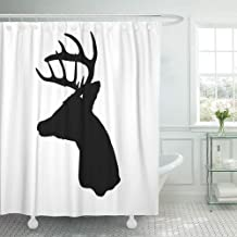 Abaysto Buck Whitetail Deer Head Silhouette Woods Antler Archery Arrow Bow Butcher Decor Shower Curtain Sets with Hooks Polyester Fabric Great Gift