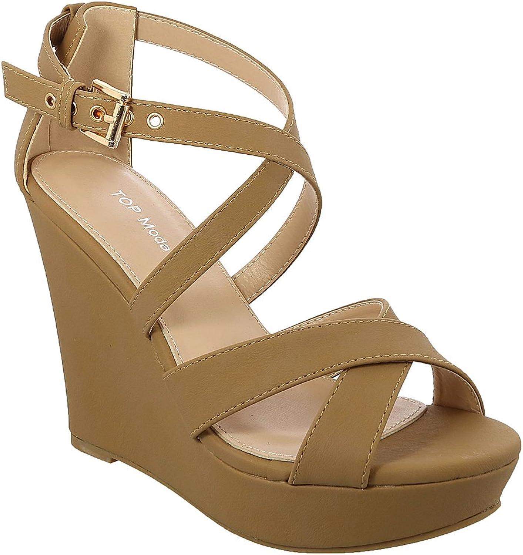 Top Moda Beyond-1 Women's Crisscrossing Straps Wedge Sandals