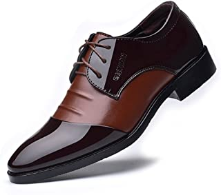 Yajie-shoes store, Men's Formal Business Shoes Smooth PU Leather Splice Upper Lace Up Breathable Lined Oxfords (Color : Brown, Size : 5.5 UK)