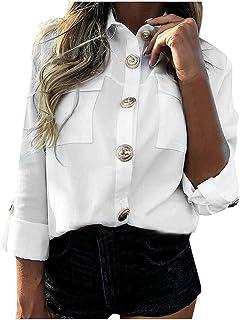 Lazzboy skjorta dam långärmad blus casual solida knappar lös passform basic arbetskläder ny chic pullover toppar jumper