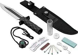 Whetstone Frontiersman Survival Knife & Kit w/Sheath, Silver, Standard