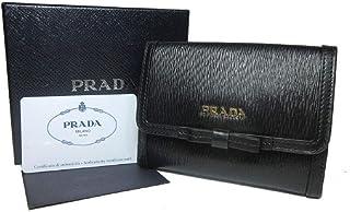 f4be6729655655 Prada Vitello Move Leather Bluette Black Coin Purse Bi-fold Bow Wallet  1MH523