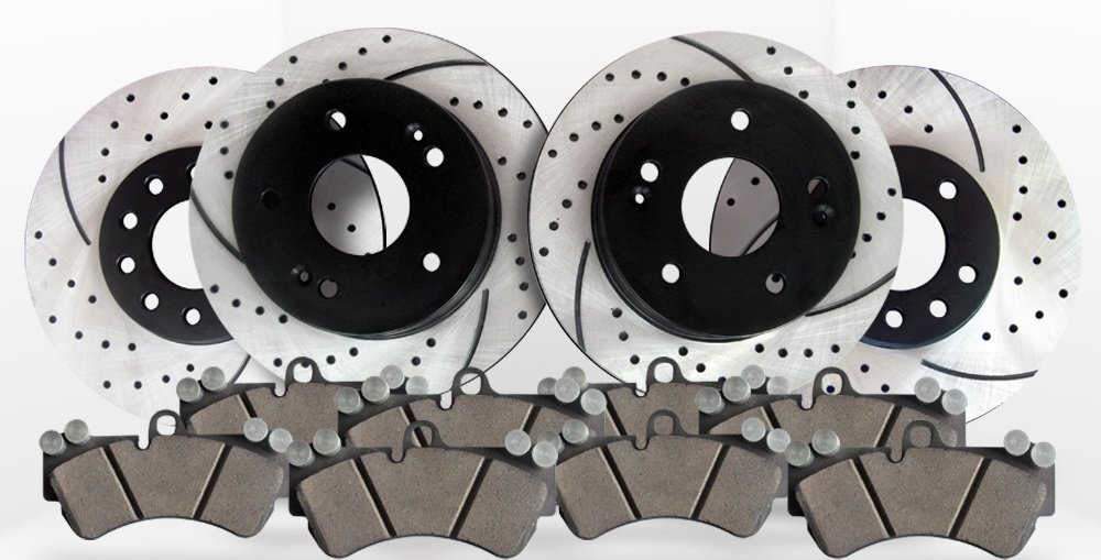 Performance Drilled /& Slotted Brake Rotors /& Ceramic Pads Front /& Rear Kit
