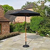 Kingfisher 2.4m Wooden Black Garden Parasol