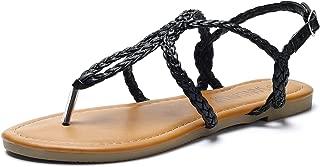 Women's Braided Strap Thong Flat Sandals