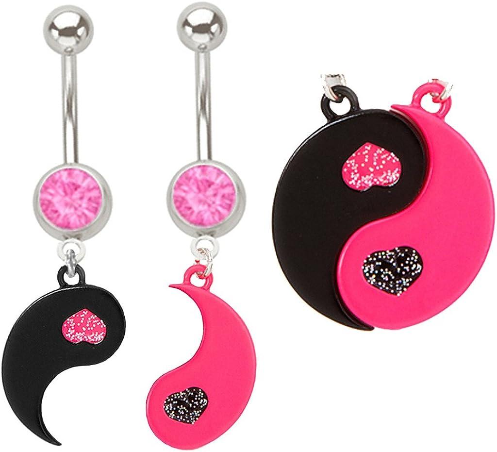 Pink & Black Heart Yinyang Best Friends Yin Yang Belly Button Navel Ring Piercing bar Body Jewelry 14g